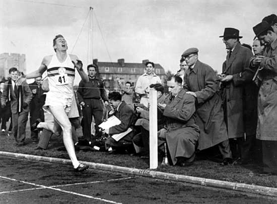 Bannister breaking the four minute mile